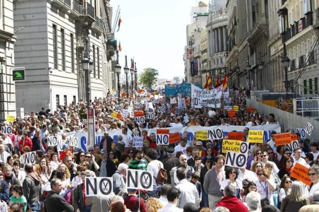 Protesto contra os cortes na saúde e educação na Espanha, 21 de Abril de 2012.