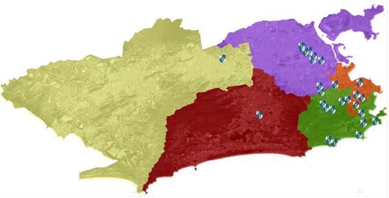 Legenda:Laranja: Área de Planejamento (AP1): CentroVerde: AP2: Zona Sul e Grande TijucaLilás: AP3: Zona NorteVermelho: AP4: Barra e JacarepaguáAmarelo (?): AP5: Zona OesteCréditos:Mapa elaborado por Lucas Faulhaber.