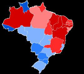 Gráfico que mostra a vitória dos candidatos por estado.