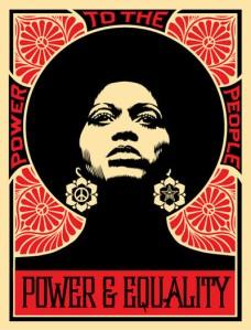 """""""Poder ao Povo; Poder e igualdade"""". Street art de Shepard Fairy."""