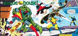 Os X-Men em ação (arte de George Pérez e Terry Austin, texto de Chris Claremont).