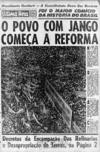 Notícia do comício da Central do Brasil em 13/03/1964