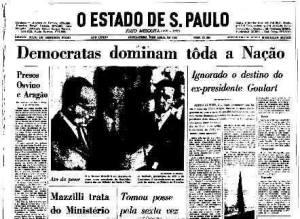 """O Estado de São Paulo apresenta os golpistas como """"democratas"""", em abril de 1964"""