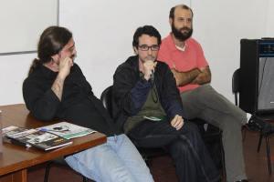 Os historiadores Demian Melo, Romulo Mattos e Felipe Demier