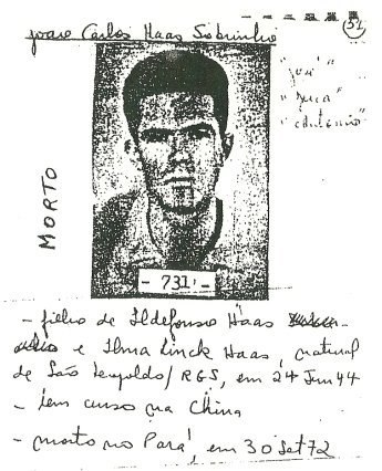 Documento produzido pelo exército para investigar e reprimir a guerrilha do Araguaia.