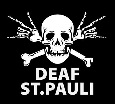 """Logotipo do fã clube Deaf St. Pauli, que combina a """"caveira e ossos cruzados"""" com o sinal I L Y, que é internacionalmente conhecido em língua de sinais e significa """"Eu te amo"""".  http://deaf-fcstpauli.jimdo.com/"""