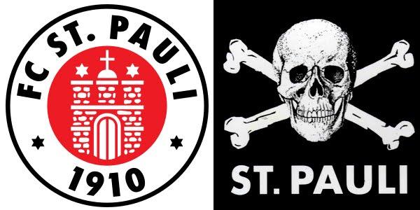 """O escudo do St. Pauli e a bandeira """"skull and crossbones"""" (""""caveira e ossos cruzados"""") adotada pelo seus torcedores"""
