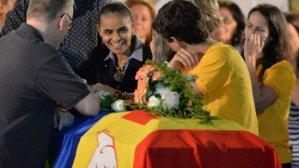 Marina Silva no velório de Eduardo Campos, de quem herdou a candidatura à presidência