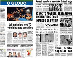 Em outubro de 2013, jornal O Globo publica edição criminosa, remetendo a 1969