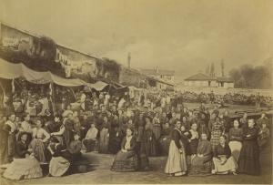 Mulheres presas e esperando deportação por participarem da Comuna de Paris em 1871. Entre elas, a militante anarquista Louise Michel