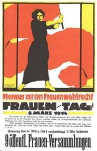 Cartaz alemão convocando para o Dia Internacional das Mulheres reivindica o Sufrágio Universal Feminino