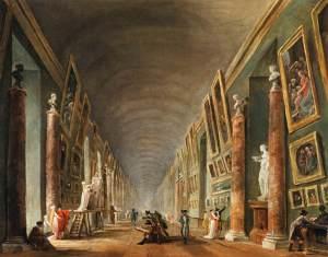 A grande galeria do Louvre, pintura de cerca de 1795 mostrando o esforço do governo revolucionário Francês em montar uma política cultural como forma de mobilização popular.
