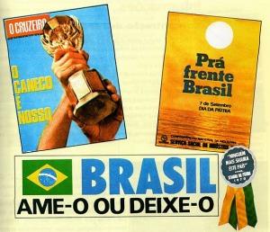 """Propaganda da época da ditadura, com o slogan """"Brasil ame-o ou deixe-o"""", satirizada pela imprensa de oposição e pela população, que difundiu o ditado: """"o último a sair apague a luz do aeroporto"""""""