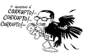 Caricatura retrata Carlos Lacerda como corvo, por conta de sua elevação do golpismo à categoria de modo de ação político prioritário