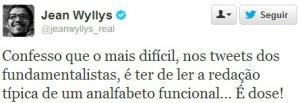 Jean Wyllys reclamando no Twitter dos fundamentalistas