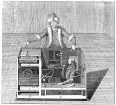 O autômato e o anão: Benjamin compara o materialismo histórico a um falso robô, movido, secretamente, pela teologia. Esta combinação é que faz os lances vencedores na luta de classes.
