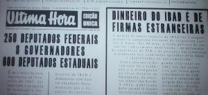 Notícia do Jornal Última Hora sobre as descobertas da CPI do IBAD, de 1963.