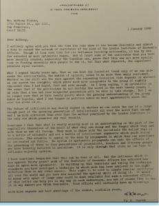 Carta de F. Hayek a Anthony Fischer sobre o êxito do Institute for Economic Affairs