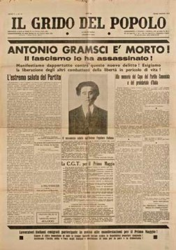 Jornal operário noticiando a morte de Gramsci