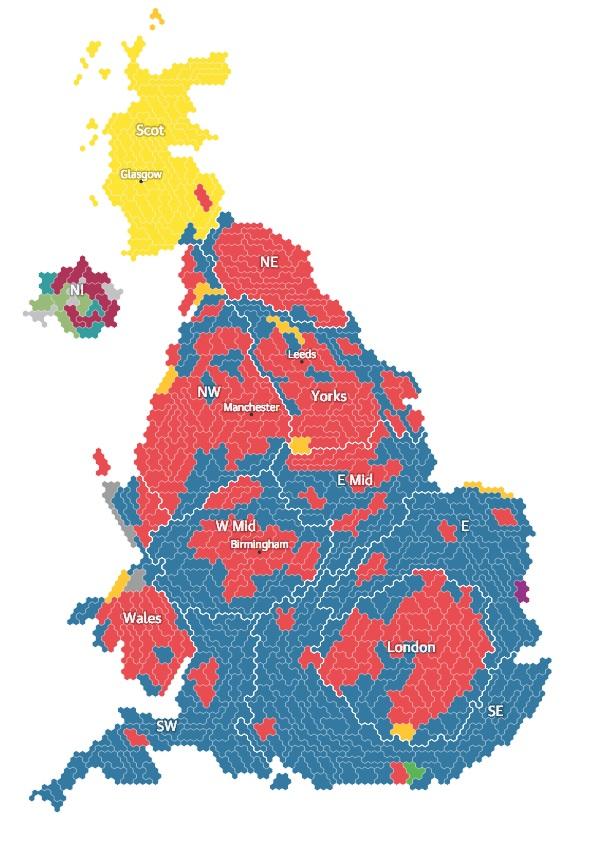 Resultado das eleições de 2015. O azul representa as localidades vencidas pelo partido conservador; a vermelha, pelo trabalhista; a amarela pelo partio nacional escocês. Para melhor detalhamento dos resultados, clicar aqui.